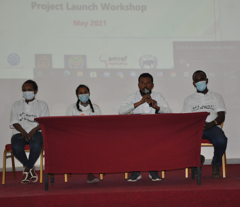 Youth voicing their issues in a panel at 'Power to You(th)' project launch, Bahirdar, Amhara region